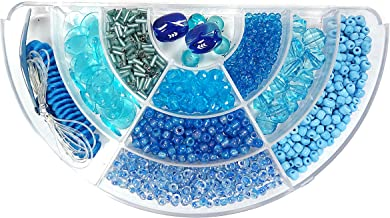 Linpeng BB-27 2 to 13mm Ocean Hand Painted Fish Glass Beads Bugles Seed Beads Plastic Beads Gel Cord Hair Band Hair Clip in Divider Bead Box for DIY Necklace and Hair Decor Jewelry Making, Blue