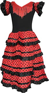 Spanish Flamenco Dress Fancy Dress Costume - Girls/Kids - Black/Red
