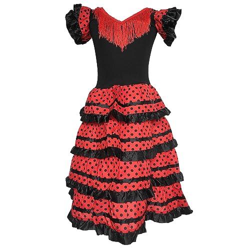 f9ce3cfddb07 La Senorita Spanish Flamenco Dress Fancy Dress Costume - Girls/Kids -  Black/Red