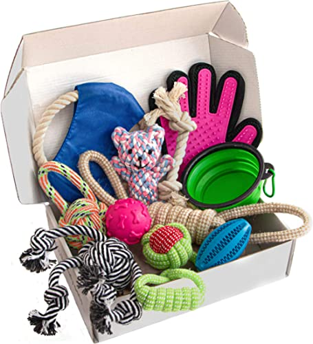 Zenify Puppy Dog Toys Gift Box - Pet Interactive Dog Rope Toy Starter Set - Tug Cotton Fetch Ball Rubber Training Pup...