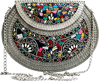 CREATIVE MARTS Jewel Mosaic Design Metal Work Party Clutche Bag Silver and Multi for Women's