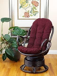 Lounge Swivel Rocking Java Chair Natural Rattan Wicker Handmade with Dark Brown Cushion, Dark Brown