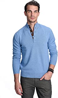 State Cashmere Quarter-Button Mock Neck Sweater 100% Pure Cashmere Long Sleeve Polo Collar Pullover