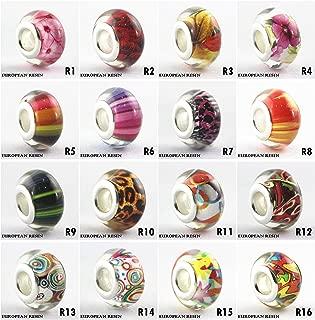 BRCbeads Top Quality Choose 5 Pcs (European Resin 1) Mix Silver Plate Murano Lampwork European Glass Crystal Charms Beads Spacers Fit Pandora Troll Chamilia Carlo Biagi Zable Snake Chain Charm Bracelets.
