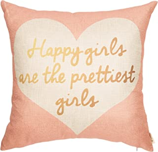 Fjfz Nursery Decor Happy Girls are The Prettiest Girls Motivational Sign Inspirational Quote Decoration Cotton Linen Home Decorative Throw Pillow Case Cushion Cover Sofa Couch, Blush Pink, 18