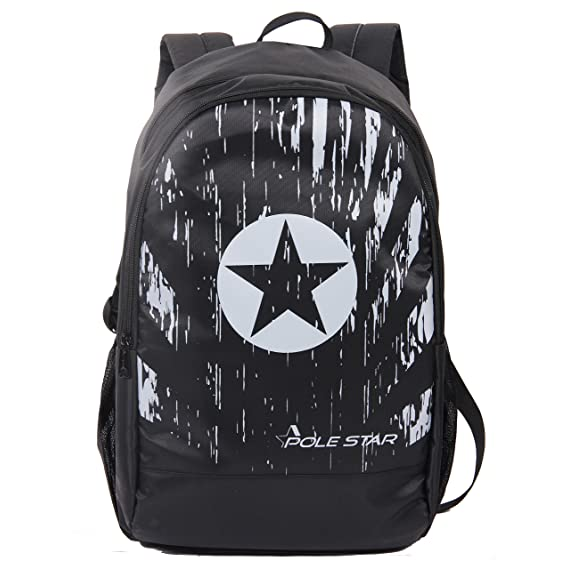 POLE STAR Polyester 30L Black Backpack with Laptop Compartment