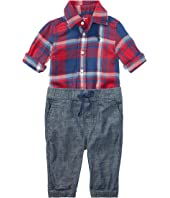 Ralph Lauren Baby Plaid Shirt & Chambray Pants Set (Infant)