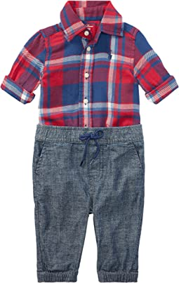 Plaid Shirt & Chambray Pants Set (Infant)