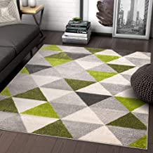 Well Woven Isometry Green & Grey Modern Geometric Triangle Pattern Area Rug Soft Shed Free 8 x 11 (7'10