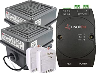 Linortek Netbell-2-2Buz IP-Based Extra Loud Break Time Alarm Buzzer, Industrial Factory or Warehouse Buzzer System,Remote Controlled Bell Timer with Two Federal Signal 350-024-30 Vibratone Horns