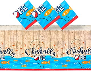 O'fishally One Tablecloth for 1st Birthday Party, Table Cover (54 x 108 in, 3 Pack)