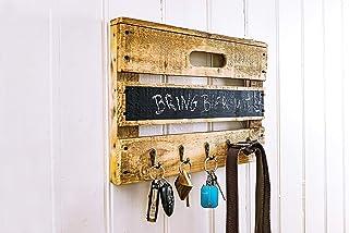 Flussbrett. Wohnaccessoires aus Obstkisten Schlüsselbrett aus Holz einer Obstkiste mit Tafellack für kleine Kreide-Nachrichten, für Schlüsselanhänger, Leinen, Handtücher, Handmade, Unikat, Upcycling