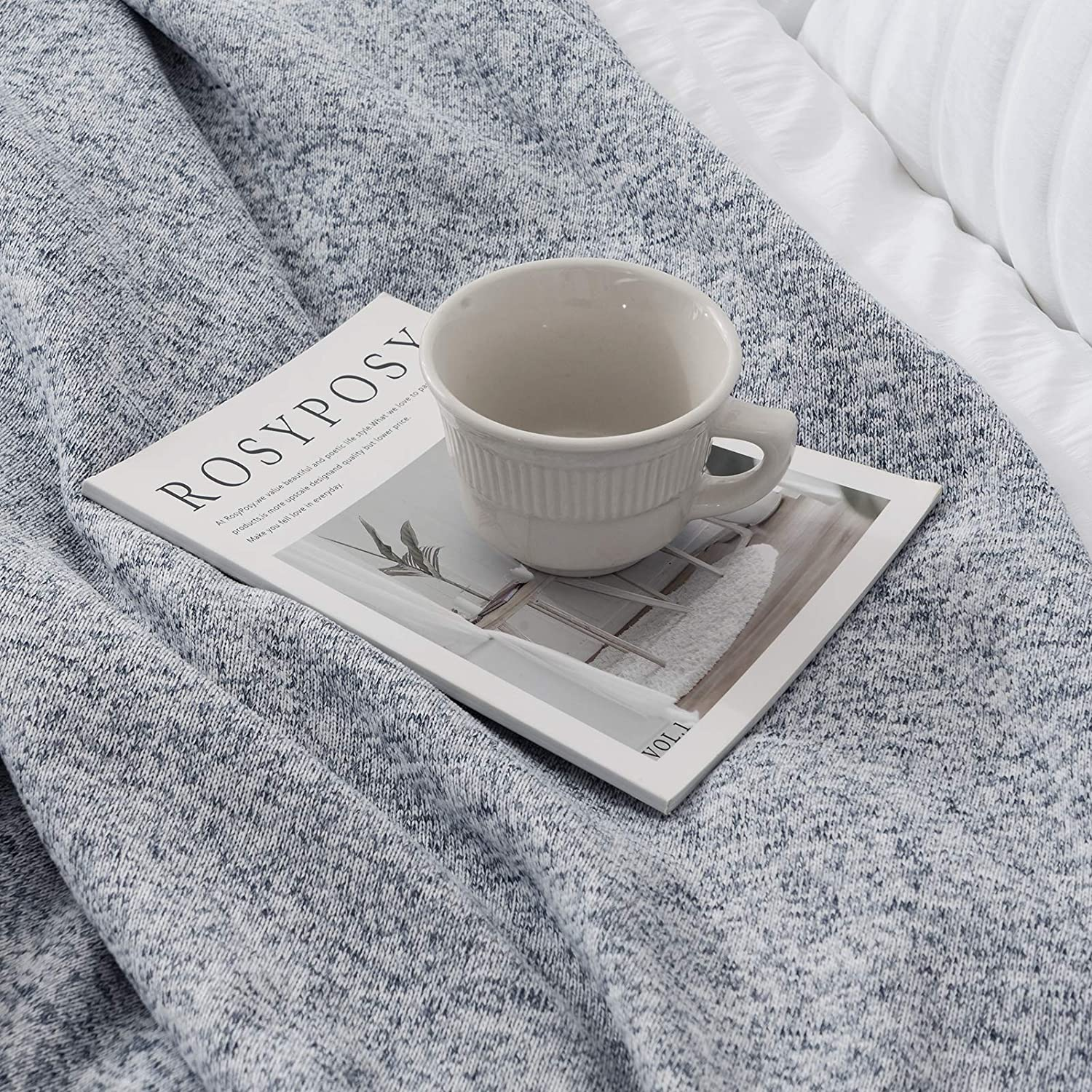 joybest Bed Throw Knit Blanket Lightweight Breathable Fuzzy Jersey Thin Throw Blanket for Couch Sofa Bed Office Picnic Queen Size 90x90