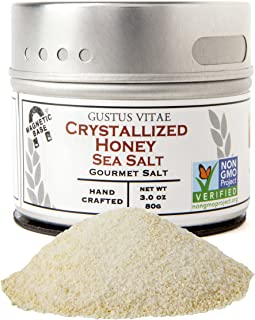 Crystallized Honey Sea Salt | Non GMO Verified | Magnetic Tin | 3.0oz | Finishing Salt | Crafted in Small Batches by Gustus Vitae | #15