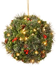 National Tree 12 Inch Crestwood Spruce Kissing Ball with Silver Bristle, Cones, Red Berries and 35 Battery Operated Warm White LED Lights (CW7-318-12B-1)