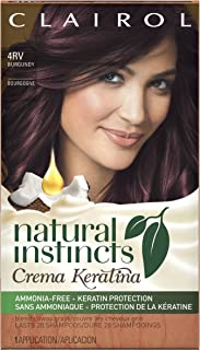 Clairol Natural Instincts Crema Keratina Hair Color Kit, Burgundy 4RV Eggplant Creme