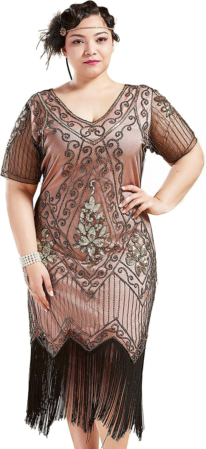 1920s Plus Size Fashion in the Jazz Age BABEYOND Plus Size 1920s Art Deco Fringed Sequin Dress Flapper Gatsby Costume Dress for Women  AT vintagedancer.com