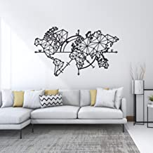 Homemania Black Metal Globe Wall Decoration Home Decor for Living Room, Office, Wall, Planner, M