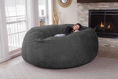 Chill Sack Bean Bag Chair: Giant 8' Memory Foam Furniture Bean Bag - Big Sofa with Soft Micro Fiber Cover - Charcoal