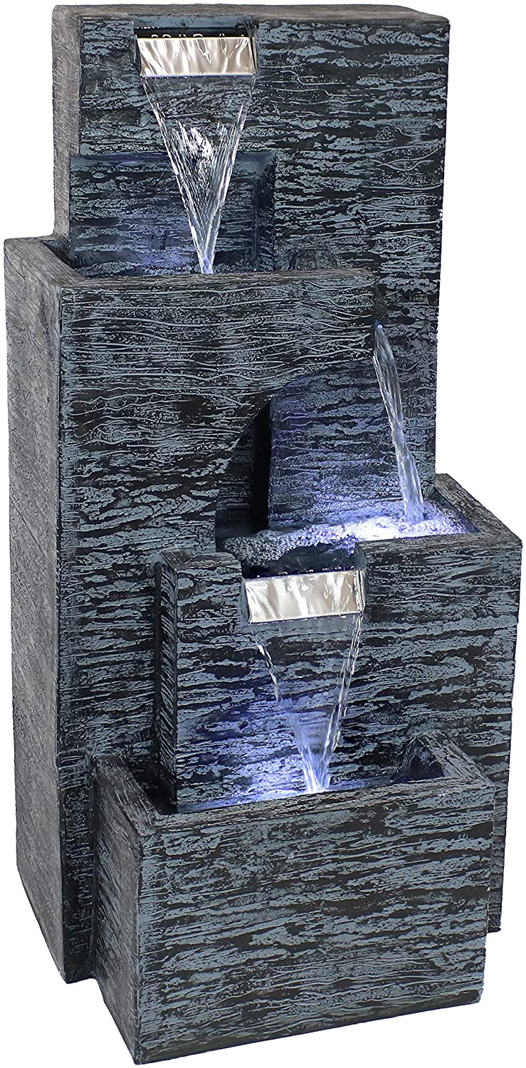 Sunnydaze Contemporary Cascading Tower Outdoor Water Fountain with LED Lights & Electric Submersible Pump - Patio, Lawn and Garden Waterfall Feature Decor - 32-Inch