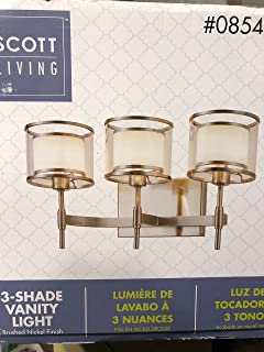Scott Living Canterbury 3 Light Brushed Nickel Arm Vanity Light Fixture 18.25