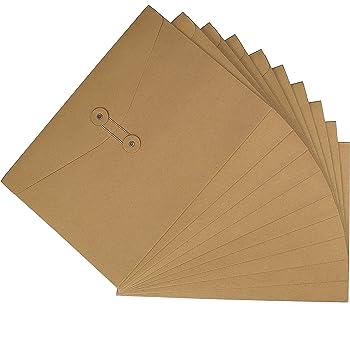 10Pcs Pochette Document en Papier Kraft A4 A5 Sac Enveloppe de Fichiers avec Ligne Boucle Porte-documents Portable Chemises Stockage Rangement Dossier Classeur Scolaire Bureau File Folder