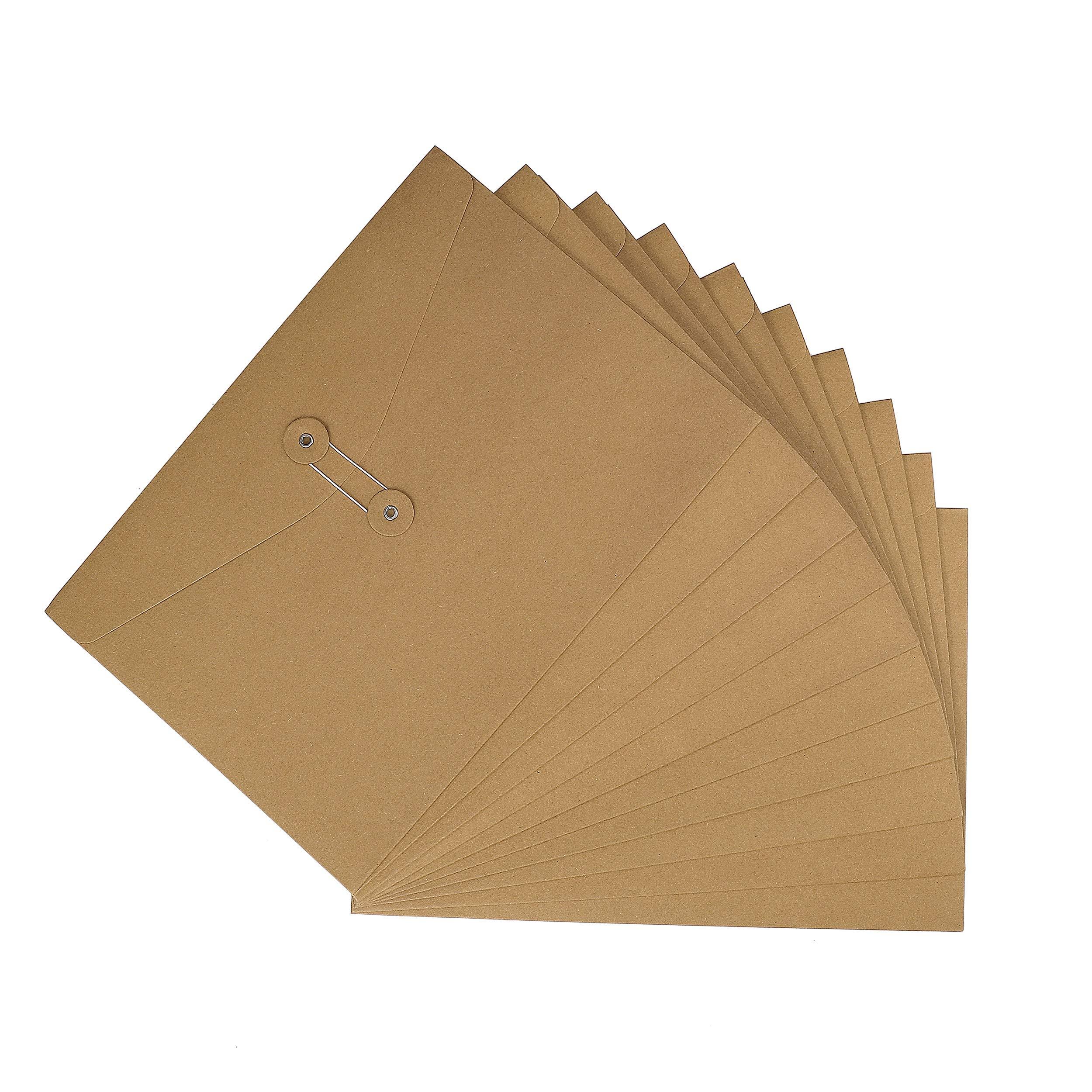 A4 Sac de Fichier en Papier Kraft,10 Stück Enveloppe de Document Dossier de Fichier avec Ligne Boucle, Epais File Folder Porte-documents Pochette Rangement à Dossier Fournitures Scolaire Bureau