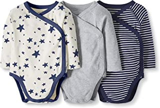 Moon and Back by Hanna Andersson Baby 3-Pack Organic Cotton Long Sleeve Side Snap Bodysuit