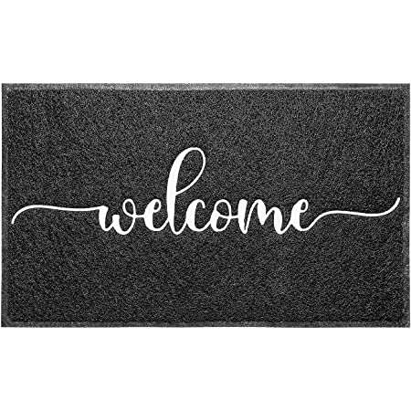 """Downshifting Door Mat (30""""x17"""",Black), Durable Welcome Mat Low Profile Floor Mat Non Slip Rugs, Indoor Outdoor Door Rug Easy to Clean Entry Rugs for Entryway Patio, High Traffic Areas"""