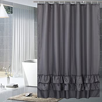 72x 80-Black YUUNITY Shower Curtain Polyester Fabric Bath Curtain with Hooks Bathroom Accessories,Waterproof Washable