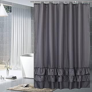 YUUNITY Avershine Sheer Shower Curtain Waterproof, 72 x 80 Inch Hookless (Sheer Dark Blue 72