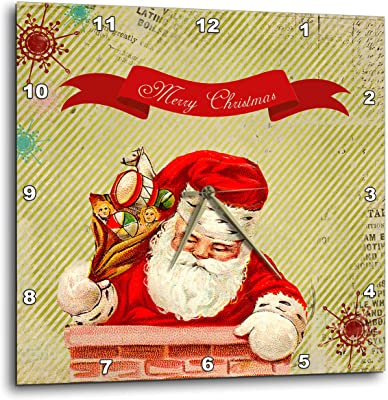 3dRose Andrea Haase Holiday Illustration - Vintage Santa Nostalgic Christmas Illustration with Text - 15x15 Wall
