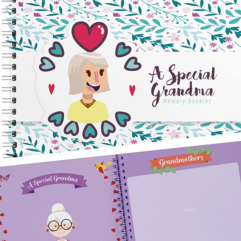 A Special Grandma Edition a Hardcover Memory Booklet - 24 Beautiful Pages Filled with Lovely Quotes and Unique Designs Makes This The Perfect Gift for Grandmother - Comes with Stickers