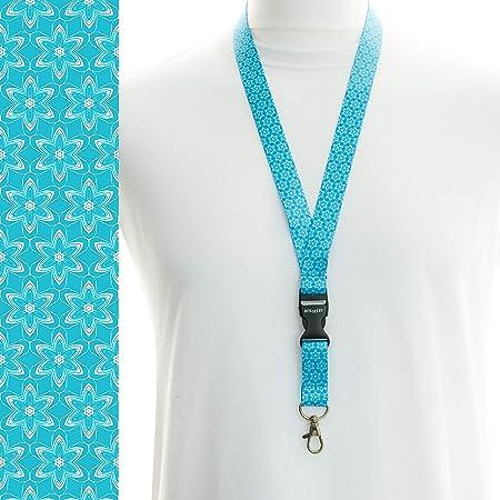 Rolseley Cordon tour de cou pour porte-badges avec clip en métal 1 Floral bleu clair