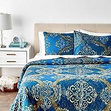 طقم غطاء لحاف فاخر فاخر أزرق اللون مكون من 3 قطع من Tache Home Fashion Tache Full 2133-F