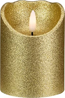 Northlight 4 Gold Glitter Flameless Battery Operated Christmas Decor Candle, NORTHLIGHT YW90680