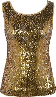 Women's Sequin Top Slim Stretchy Sparkle Tank Top Party Top