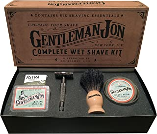 Best Gentleman Jon Complete Wet Shave Kit   Includes 6 Items: One Safety Razor, One Badger Hair Brush, One Alum Block, One Shave Soap, One Stainless Steel Bowl and Five Razor Blades Review