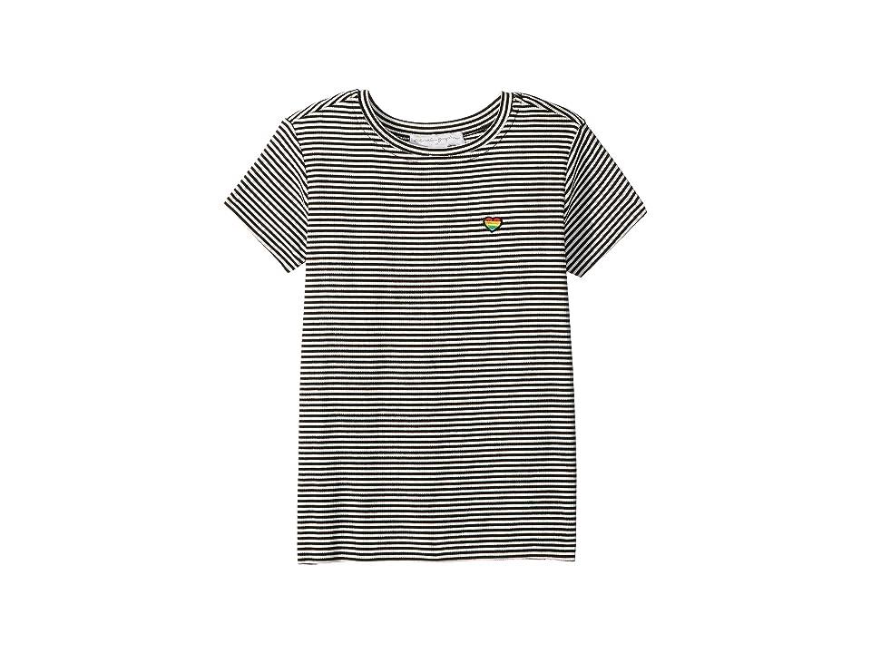 Spiritual Gangster Kids Happy and Free Short Sleeve Tee (Toddler/Little Kids/Big Kids) (Seashell Black) Girl's T Shirt