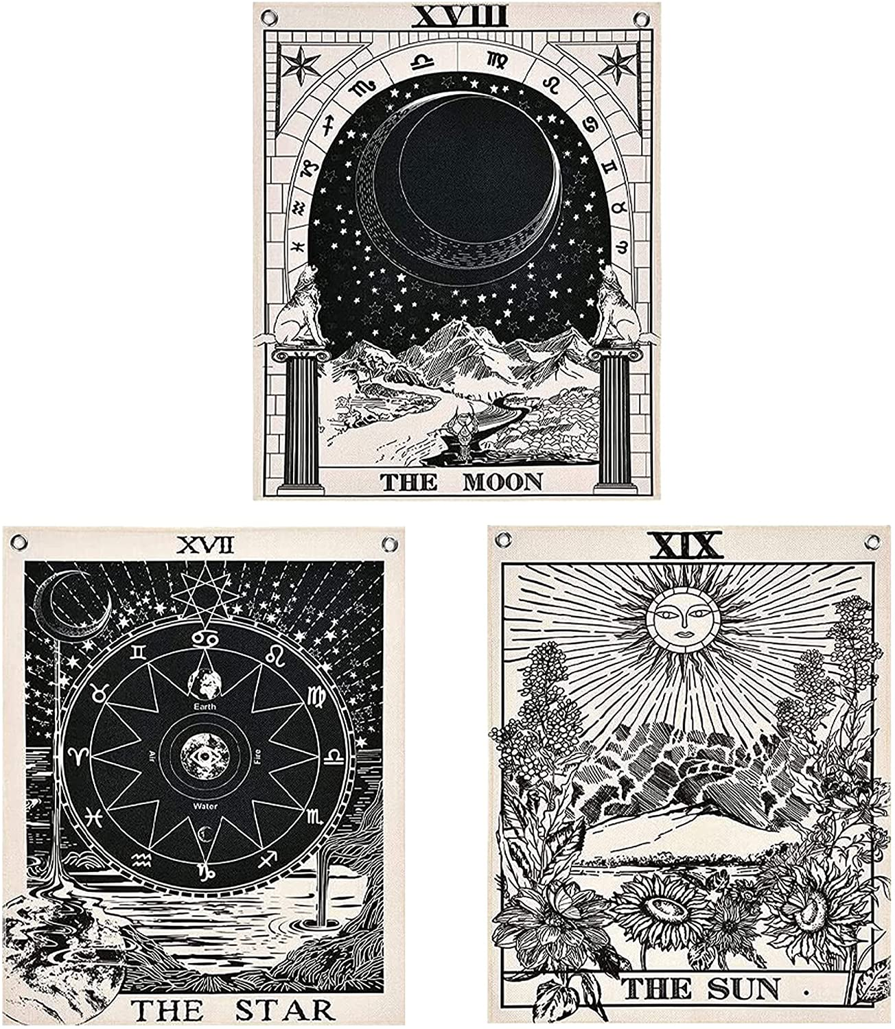 Tarot Card Tapestry Sun Moon Tapestry Small Mini Bohemian Wall Tapestry Wall Hanging Colorful Large Tapestry astrology hippie room decor witchy Spiritual Tapestry Indie Poster (20x16 In) Black & White