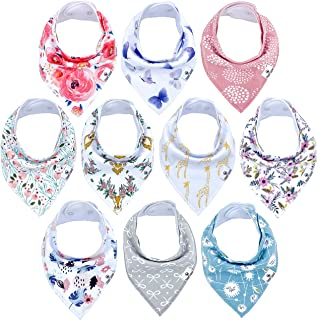 Diaper Squad 100% Organic Cotton Floral 10-Pack Baby Girl Drool Bandana Bibs Pink for Girls