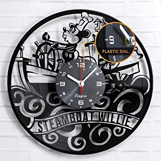 Steamboat Willie Clock Mickey Mouse Clock Steamboat Willie Vinyl Walt Disney Mickey Mouse Disney Gifts Steamboat Willie De...