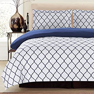 Lux Decor Collection Duvet Cover Set, 1800 Count Egyptian Quality King Soft Premium Bedding Collection, 3 Piece Luxury Soft, 2 Pillow Shams (White/Blue, Full/Queen)