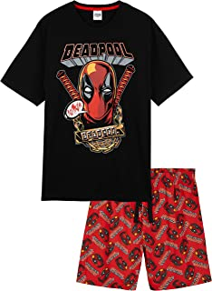 MARVEL Deadpool Mens Pyjamas, Merchandise, Short PJs, Loungewear Set for Men