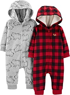 Simple Joys by Carter's Boys' 2-Pack Neutral Fleece Hooded Jumpsuits
