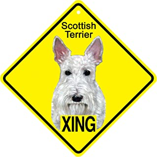 KC Creations Metal Scottish Terrier Dog Sign Xing sign caution warning Crossing sign 11x11 inches diamond or 8x8 inches square