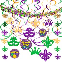 JOYIN Assorted Mardi Gras-themed 24 Hanging Swirls and Strings with Garland Party..
