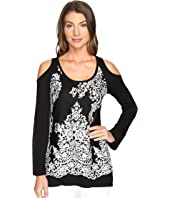 Karen Kane - Lace Overlay Cold Shoulder Top