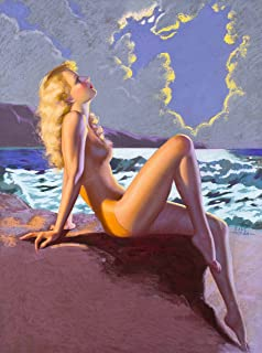 A SLICE IN TIME 1940s Pin-Up Girl Eve-N-Tide Nude Girl on the Beach at Sundown Picture Poster Print Art Vintage Pin Up. Poster measures 10 x 13.5 inches