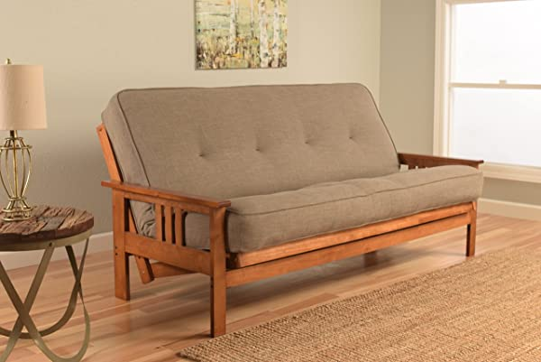 Kodiak Furniture KFMOBBLSTNLF5MD3 Monterey Futon Set With Barbados Finish Full Linen Stone